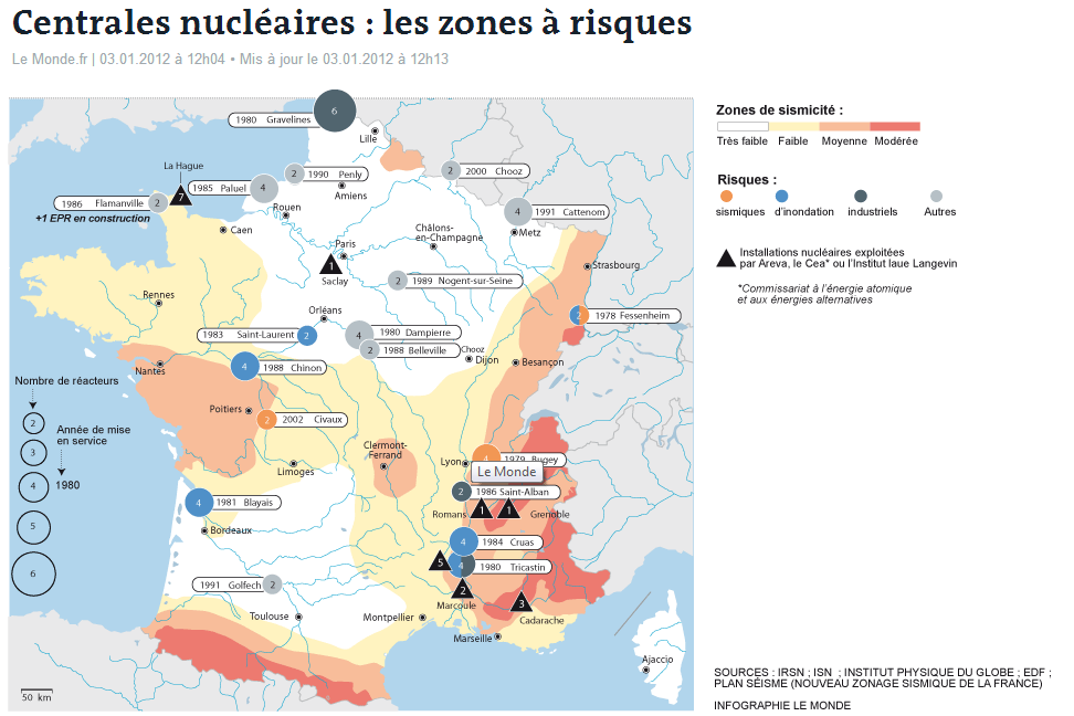 Maps on nuclear power in France - Nuclear Transparency Watch